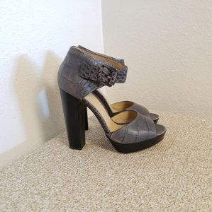 Coach Maze Gray Embossed Leather Sandals